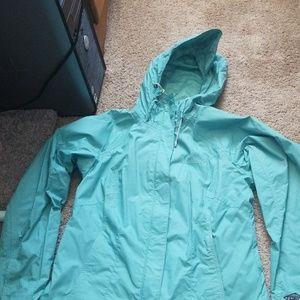 Columbia teal rain jacket